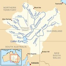 lake eyre map australia Cooper Creek Wikipedia lake eyre map australia