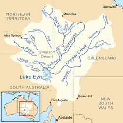 Map of the Lake Eyre Basin showing the major rivers