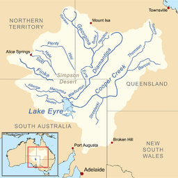 Map of the Lake Eyre Basin showing Cooper Creek