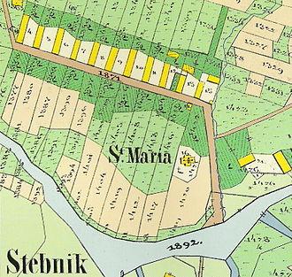 Waldhufendorf - Stebnik-Steinfels (1783) was founded as a Waldhufendorf'. 1852 plan