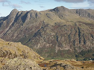 Langdale axe industry - Harrison Stickle, the highest of the Langdale Pikes, in the right centre of the group