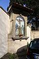 Largo enrico fermi, tabernacolo con crocifissione di ottone rosai, 1954, 02.jpg