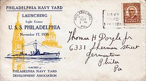USS Philadelphia (CL-41) - Commemorative cover