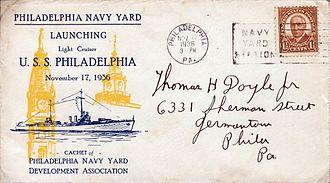 USS Philadelphia (CL-41) - Commemorative cover