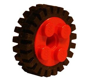 Lego tire - A Lego tire on a wheel.