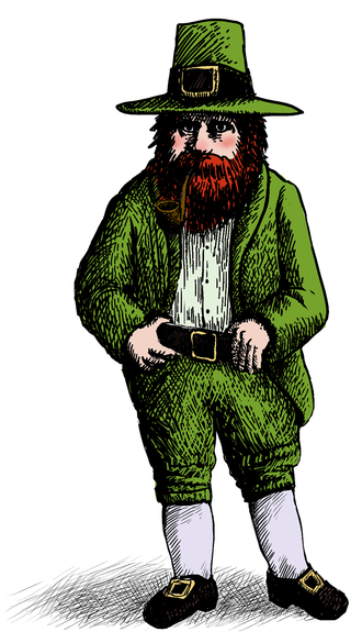 Leprechaun - A modern stereotypical depiction of a leprechaun of the type popularized in the 20th century