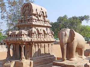Group of Monuments at Mahabalipuram - The Nakula-Sahadeva ratha and standing elephant.