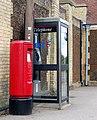Letterbox and phone box, Downham Market railway station - geograph.org.uk - 1351791.jpg