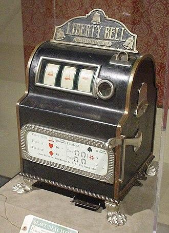 "Slot machine - 1899 ""Liberty Bell"" machine, manufactured by Charles Fey."