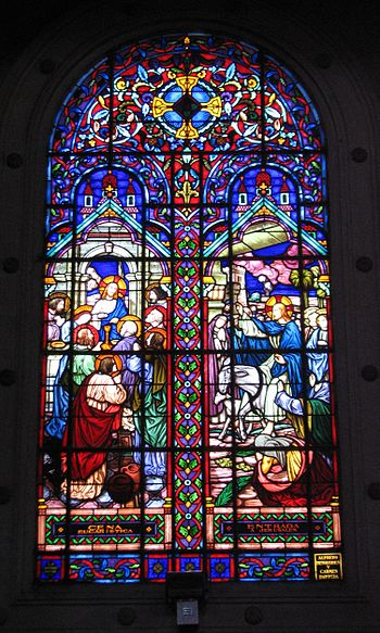 Cathedral Lima Miraflores stained glass window...
