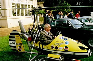 Wallis WA-116 Agile - Little Nellie, pictured with its creator Ken Wallis in the cockpit.