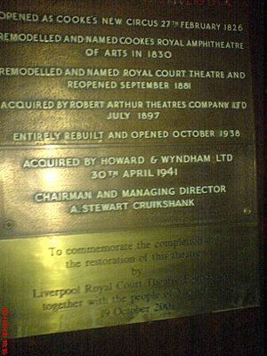 Royal Court Theatre, Liverpool - Plaque in foyer