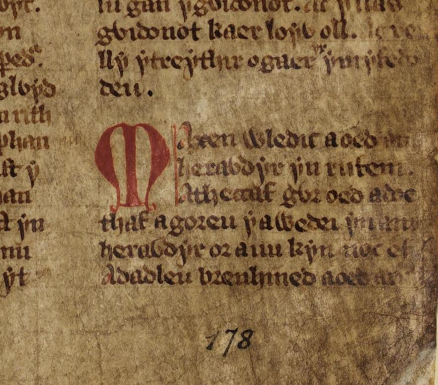 Llyfr Gwyn Rhydderch f. 45 r. Beginning of Macsen Wledig