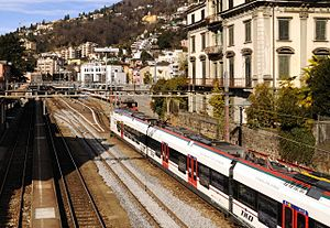 Muralto - Train arriving at the Muralto-Locarno railway station