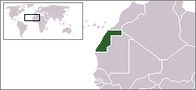 A map showing the location of Western Sahara