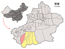 Location of Pishan within Xinjiang (China).png