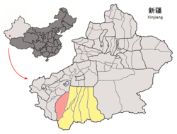 Location of Pishan/Guma County (red) within Hotan Prefecture (yellow) and Xinjiang