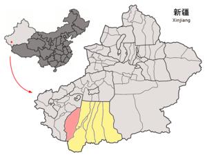 Pishan County - Image: Location of Pishan within Xinjiang (China)