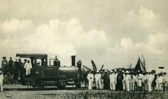 Matadi–Kinshasa Railway - The first locomotive arriving at Léopoldville in 1898