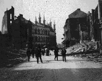 Rape of Belgium - The destroyed city of Leuven in 1915
