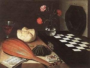 Lubin Baugin - Still life with Chessboard or The Five Senses, oil on wood, 55 x 73 cm, Louvre