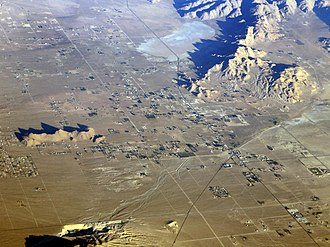 Lucerne Valley, California - Aerial view of the Lucerne Valley community.