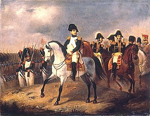 """Horses in the Napoleonic Wars - """"Napoleon I with his Generals"""" by Ludwig Elsholtz. This painting shows light cavalry horses which come into use as officer's mounts in 18th and 19th century Europe."""