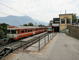 Lugano–Ponte Tresa Railway - The FLP platforms at Lugano. To the left is one of the Be4/8 units kept in reserve.