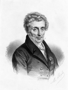 Luigi Cherubini in old age wearing a Légion d'Honneur medal, lithograph by Marie Alexandre Alophe (Source: Wikimedia)