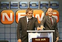81f601579 O então presidente Luiz Inácio Lula da Silva e o presidente do Grupo  Record