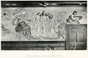 Lululaund - Dining room, 'Human Sympathy', a frieze in painted relief. c 1901