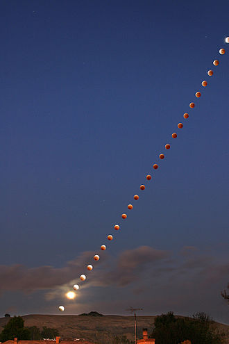 Multiple exposure - A multiple exposure composite image of a lunar eclipse taken over Hayward, California in 2004.
