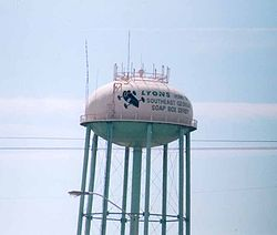 Lyons' water tower, celebrating the city's role in the Soap Box Derby