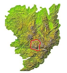 Carte de localisation de l'Aubrac dans le Massif central.