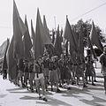 "MEMBERS OF THE ""HASHOMER HATZAIR"" YOUTH MOVEMENT MARCHING IN THE MAY DAY PARADE IN TEL AVIV. חברים בתנועת הנוער ""השומר הצעיר"" משתתפים במצעד האחד במאי D817-042.jpg"
