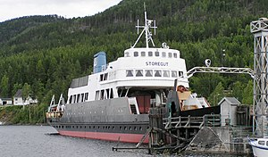 Tinnoset Line - The railway ferry MF ''Storegut'' at Tinnoset