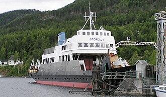 Tinnoset Line - The railway ferry MF ''Storegut'' at Tinnoset