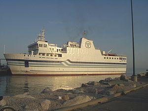 Pelee, Ontario - MV Jiimaan leaves port at Kingsville for Pelee Island.