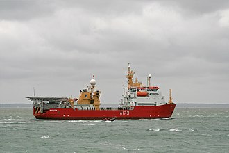 HMS Protector (A173) - Protector inbound to HMNB Portsmouth on 23 May 2011 with a naval crew lining the deck