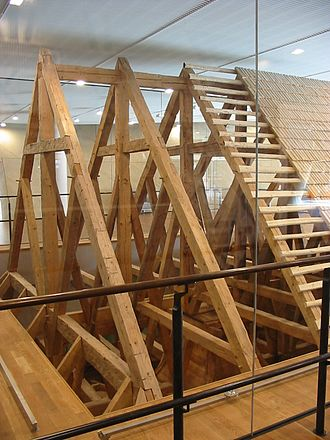 Gwoździec Synagogue - Reconstructed timber roof truss of the synagogue (Museum of the History of Polish Jews, Warsaw)