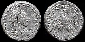 Edessa - silver tetradrachm struck in Edessa by Macrinus 217-218 AD