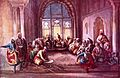 Maharaja Sher Singh (1807-1843) seated, attended by his council in the Lahore Fort..jpg