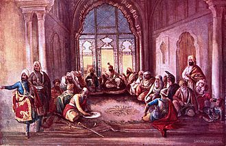 Sher Singh - Maharaja Sher Singh (1807-1843) seated, attended by his council in the Lahore Fort.