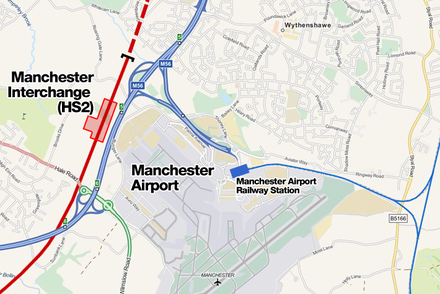 In the future Manchester Airport could benefit from construction of a nearby high-speed rail station linking the airport with the South and Central Manchester Manchester interchange station.png