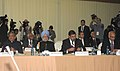 Manmohan Singh at IBSA Restricted Meeting of Heads of StateGovernment, at Pretoria, South Africa. The Union Minister for External Affairs, Shri S.M. Krishna and the Union Minister for Commerce & Industry and Textiles.jpg