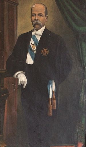 Guatemalan Civil War - President Manuel Estrada Cabrera official portrait from his last presidential term. During his government, the United Fruit Company became a major economic and political force in Guatemala.