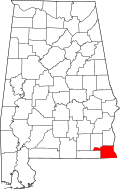 Map of Alabama highlighting Houston County