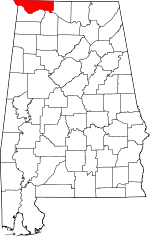 Map of Alabama highlighting Lauderdale County.svg
