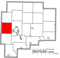 Location of Adams Township in Guernsey County