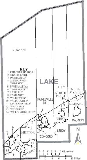 Lake County, Ohio - Map of Lake County, Ohio with Municipal and Township Labels